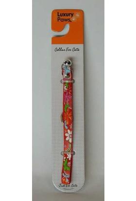 LuxuryPaws Kedi Çiçek Desenli Elastik Tasma Kırmızı 10 Mmx30 Cm.