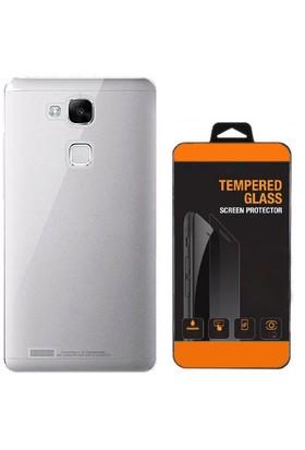 Exclusive Phone Case Huawei Mate 7 Kılıf 0.2 Silikon Şeffaf+Tempered Glass