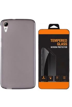Exclusive Phone Case Desire HTC 826 Kılıf 0.2 Silikon Siyah+Tempered Glass