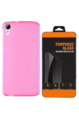 Exclusive Phone Case Desire HTC 626 Kılıf 0.2 Silikon Pembe+Tempered Glass