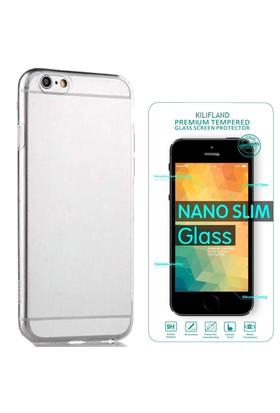 Exclusive Phone Case İphone Se Kılıf 0.2 Silikon Şeffaf+Tempered Glass