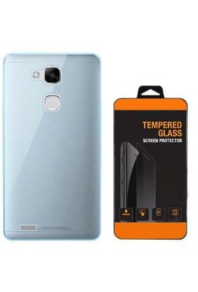 Exclusive Phone Case Huawei Mate 7 Kılıf 0.2 Silikon Mavi+Tempered Glass