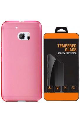 Exclusive Phone Case HTC One M7 Kılıf 0.2 Silikon Pembe+Tempered Glass