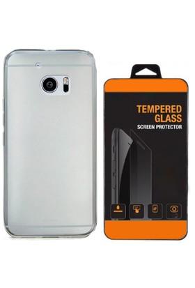 Exclusive Phone Case HTC One M7 Kılıf 0.2 Silikon Şeffaf+Tempered Glass