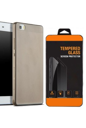 Exclusive Phone Case Huawei P8 Kılıf 0.2 Silikon Siyah+Tempered Glass