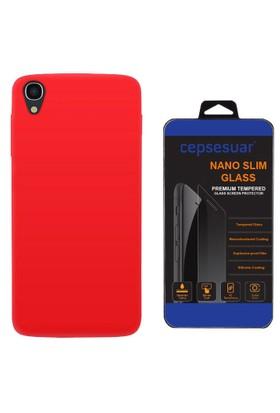 Cepsesuar Alcatel One Touch idol 3 5,5 Kılıf Silikon Kırmızı + Cam