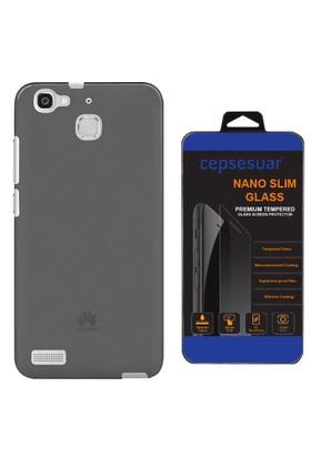 Cepsesuar Huawei GR3 Kılıf Silikon 0.2 mm Siyah + Cam