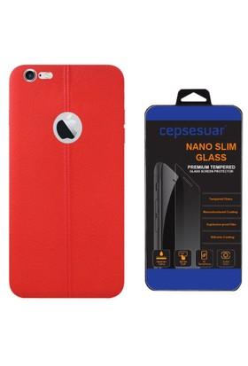 Cepsesuar iPhone 7 Kılıf Silikon Dikişli Kırmızı + Cam