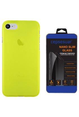 Cepsesuar iPhone 7 Kılıf Silikon Polo Sarı + Cam