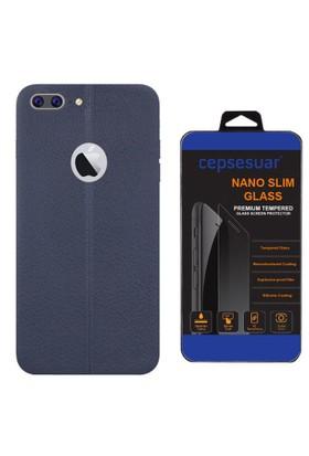 Cepsesuar iPhone 7 Plus Kılıf Silikon Dikişli Lacivert + Cam
