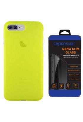 Cepsesuar iPhone 7 Plus Kılıf Silikon Polo Sarı + Cam