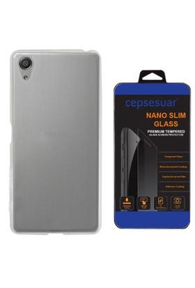 Cepsesuar Sony Xperia XA Ultra Kılıf Silikon 0.2 mm Şeffaf + Cam
