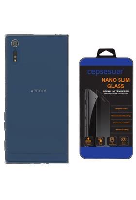 Cepsesuar Sony Xperia XZ Kılıf Silikon 0.2 mm Şeffaf + Cam