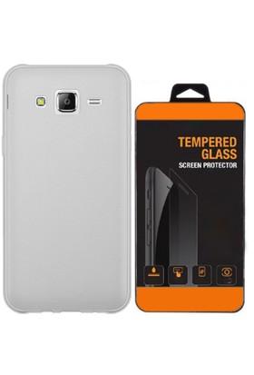 Exclusive Phone Case Samsung Galaxy J3 Kılıf 0.2 Silikon Şeffaf+Tempered Glass