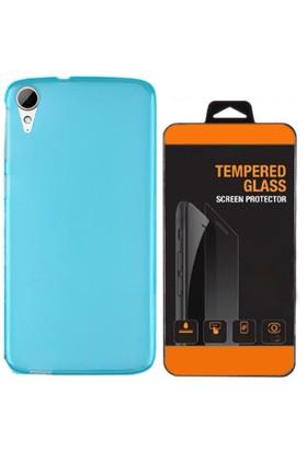 Exclusive Phone Case Desire HTC 826 Kılıf 0.2 Silikon Mavi+Tempered Glass