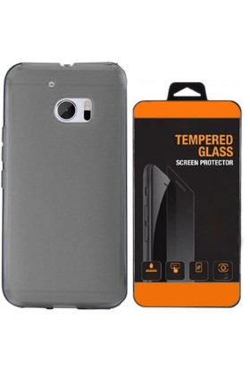 Exclusive Phone Case HTC One M9 Kılıf 0.2 Silikon Siyah+Tempered Glass
