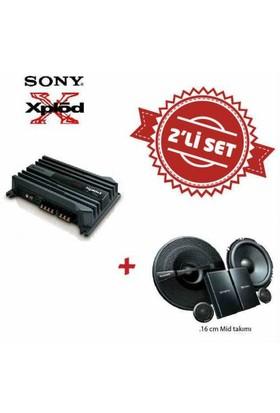 Sony XM-N502 2 yollu Amfi ile XS-GS1621C Mid Takım Set