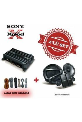 Sony XM-N502 2 yollu Amfi ile XS-GS1621C Mid Takım Set.Kablo Seti