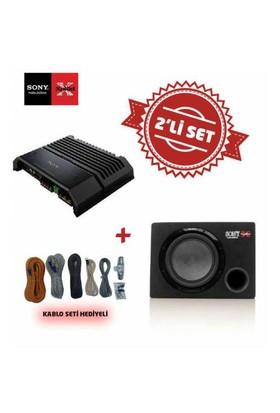 Sony XM-GS100 Mono Amfi ile Sony XS-GSW121 Kabinli Subwoofer Set. Kablo Seti