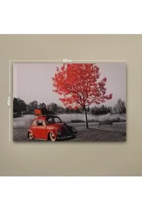 Deco Kırmızı Ağaç ve Vosvos Led Işıklı Tablo