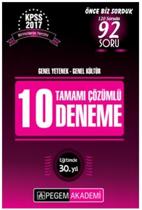 Pegem Akademi Yayınları Kpss 2017 Genel Yetenek Genel Kültür Tamamı Çözümlü 10 Deneme Sınavı