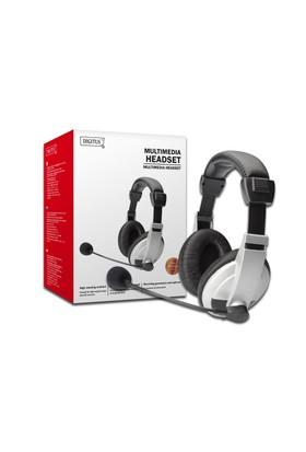 Digitus Stereo Multimedya Kulaklık, Mikrofonlu, Siyah/Gümüş Renk
