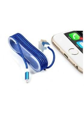 Toptancı Kapında Apple İphone Örgü Şeklinde Renkli Çelik Şarj Data Kablosu - Mavi