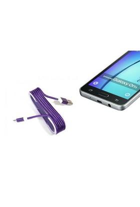 Toptancı Kapında Android Örgü Şeklinde Renkli Çelik Şarj Data Kablosu - Mor