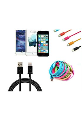 Toptancı Kapında Renkli İphone 5 5S 6 6S Usb Data Kablosu - Siyah