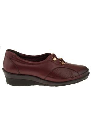 Forelli 26201 Cift Flex Bantli Comfort Bordo Kadın Ayakkabı