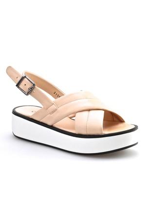 Cabani Dolgu Topuk Günlük Kadın Sandalet Pembe Deri