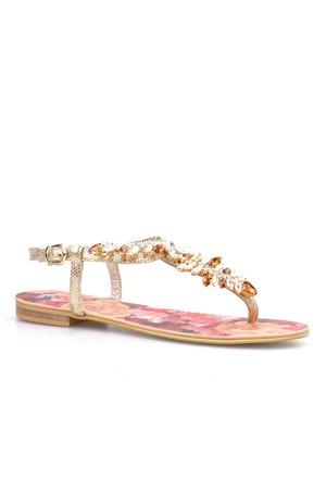 Cabani Parmak Arası Günlük Kadın Sandalet Altın Rengi Rugan