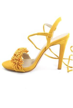 Sofistiqe Fringe Hardal Rengi Topuklu Ayakkabı