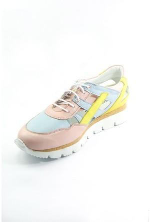 Sofistiqe Pastel Renkli Deri Sneaker