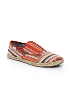 Toms Cayenne Tribal Stripe Wm Palm Slipon 10007864.Red Ayakkabı