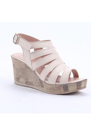 Cudo 32439 Günlük Dolgu Topuk Boy 8Cm Kemerli Kadın Sandalet