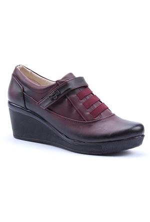 Alens Cilt Dolgu Topuk Cırtlı Ayakkabı