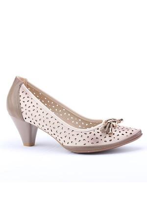 Lodos 2753 Günlük Lazer Kesim Fındık Kadın Topuklu Ayakkabı