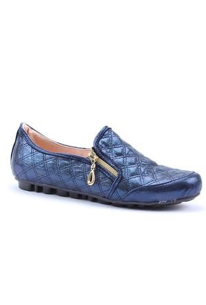 Nesta Fermuarlı Simli Kumaş Kadın Babet Ayakkabı