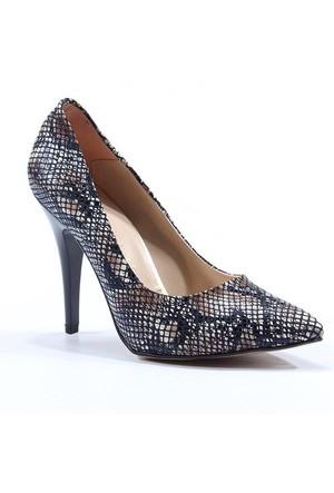 Topuz Stiletto Desenli Topuklu Ayakkabı