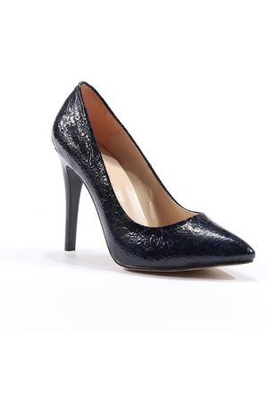 Topuz Timsah Desenli Kalem Topuk Ayakkabı