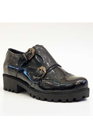 Modabuymus Siyah Rugan Gerçek Deri Bayan Ayakkabı