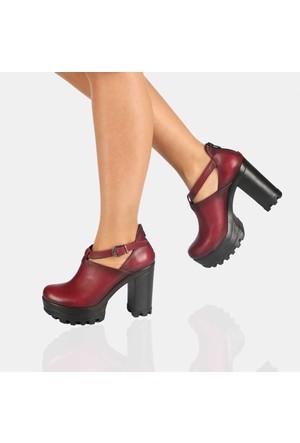 Modabuymus Hakiki Deri Bordo Platform Topuk Bayan Ayakkabı