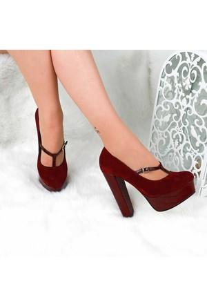 Modabuymus Bordo Bantlı Rugan Platform Bayan Ayakkabı