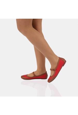 Modabuymus Taba Kırmızı Deri Bayan Babet