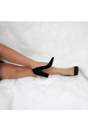 Modabuymus Süet Siyah Kalın Topuklu Stiletto