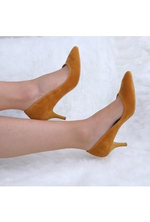 Modabuymus Sarı Süet Alçak Topuklu Stiletto