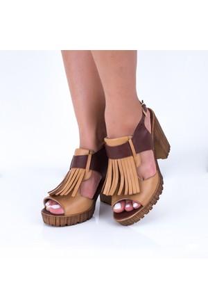 Modabuymus Soitery Taba Püsküllü Topuklu Sandalet