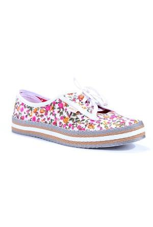 Armoni Günlük Keten Convers Çiçek Desenli Bayan Ayakkabı