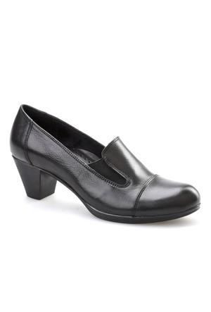 Cabani Topuklu Günlük Kadın Ayakkabı Siyah Analin Deri